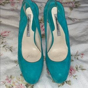 Brian Atwood - turquoise suede platforms!